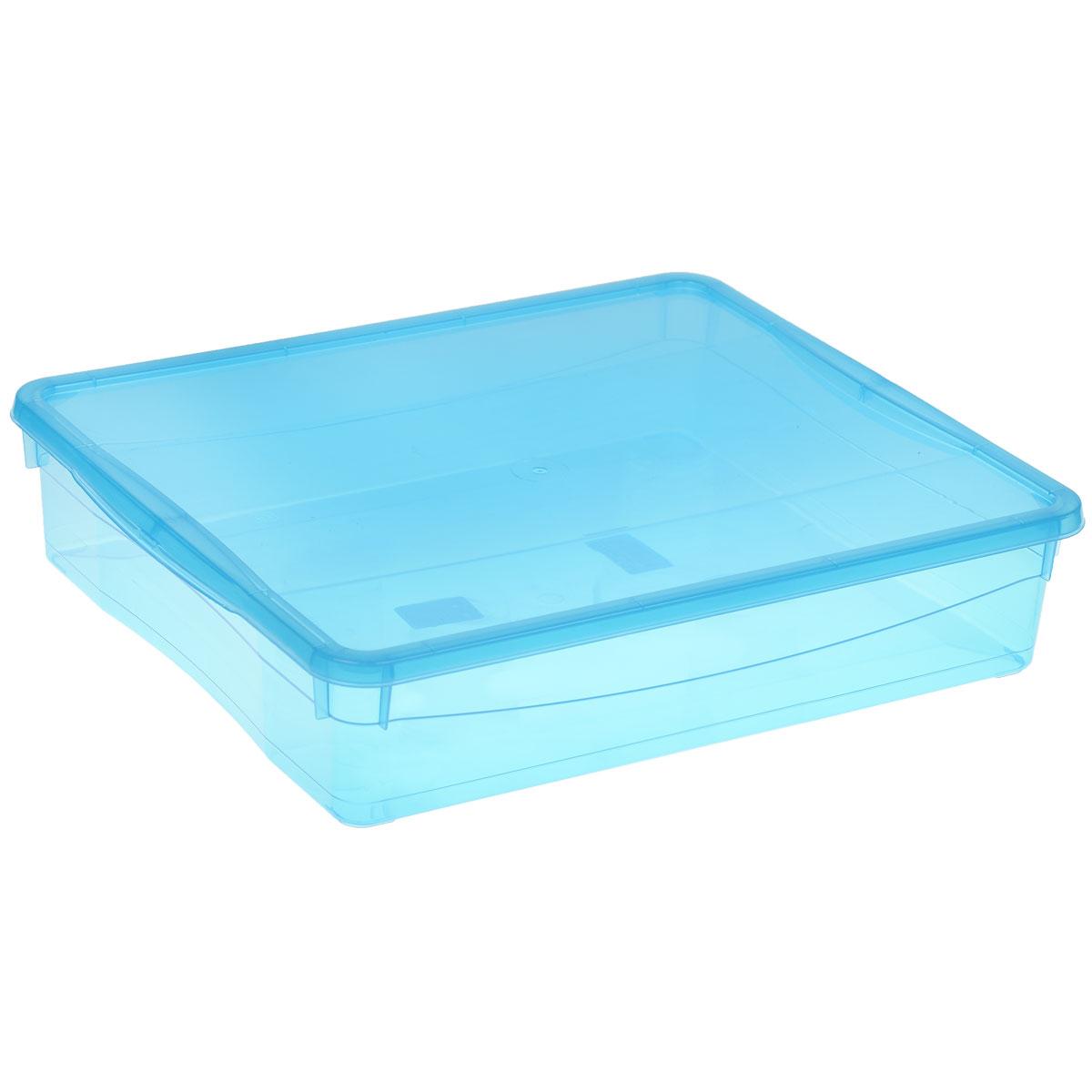 Ящик универсальный Econova Колор стайл с крышкой, цвет: голубой, 9 л ящик универсальный бытпласт колор стайл с крышкой цвет красный 18 л