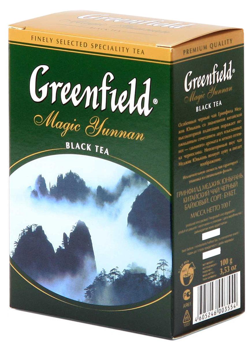 Greenfield Magic Yunnan черный листовой чай, 100 г0355-16Особенный черный чай Greenfield Magic Yunnan со знаменитой высокогорной китайской плантации поражает неожиданным сочетанием двух изысканных вкусовых нот - дымного аромата и легкого оттенка чернослива. Неповторимый вкус чая Greenfield Magic Yunnan волнует душу и питает воображение.