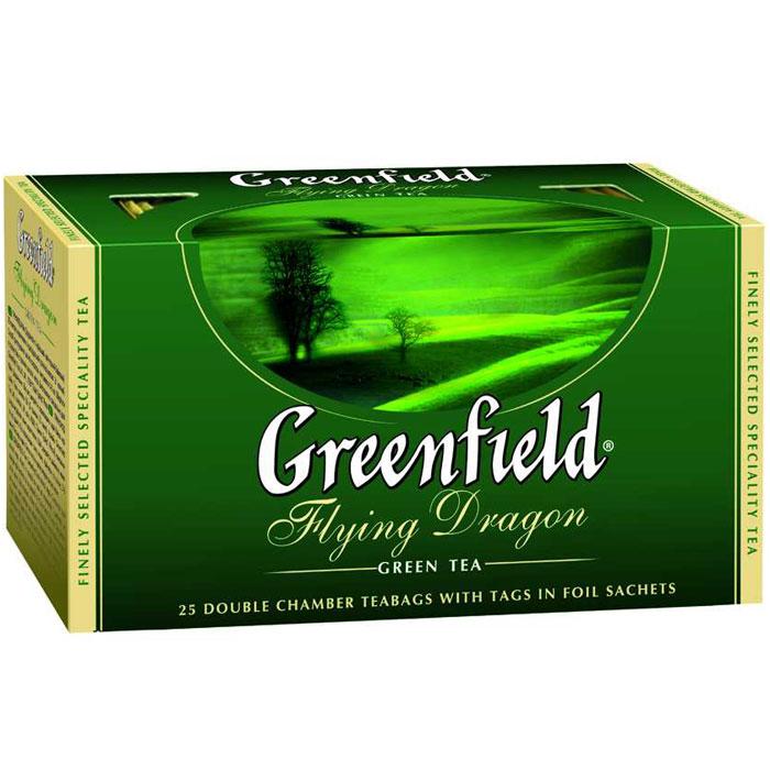 Greenfield Flying Dragon зеленый чай в пакетиках, 25 шт0358-15Тысячелетняя традиция создания китайского зеленого чая продолжается в благородном плантационном чае Greenfield Flying Dragon. Классический мягкий вкус и тонкий цветочный аромат чая Greenfield Flying Dragon освежает, придает сил и оказывает благотворное влияние на организм.
