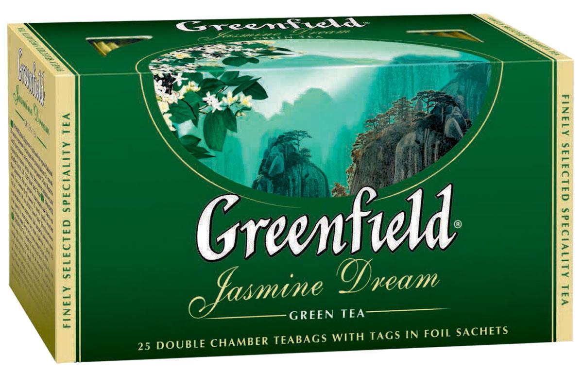 Greenfield Jasmine Dream зеленый ароматизированный чай в пакетиках, 25 шт0373-15Жасминовый чай ценится за особенный бодрящий эффект. Воздушный аромат жасмина подчеркивает чистый, освежающий вкус благородного зеленого чая из провинции Юньнань.Вместе с Greenfield Jasmine Dream приходит весеннее настроение!