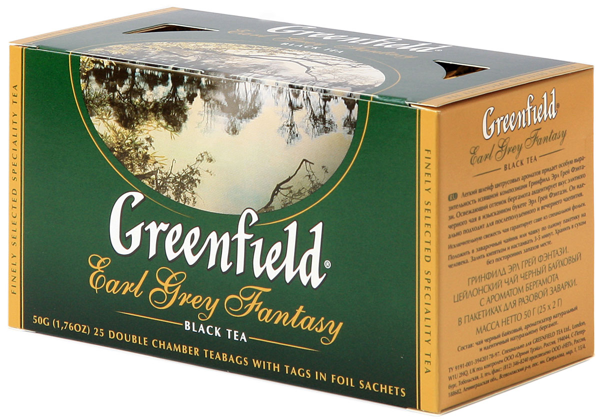 Greenfield Earl Grey Fantasy черный ароматизированный чай в пакетиках, 25 шт greenfield silver fujian черный чай в пакетиках 25 шт