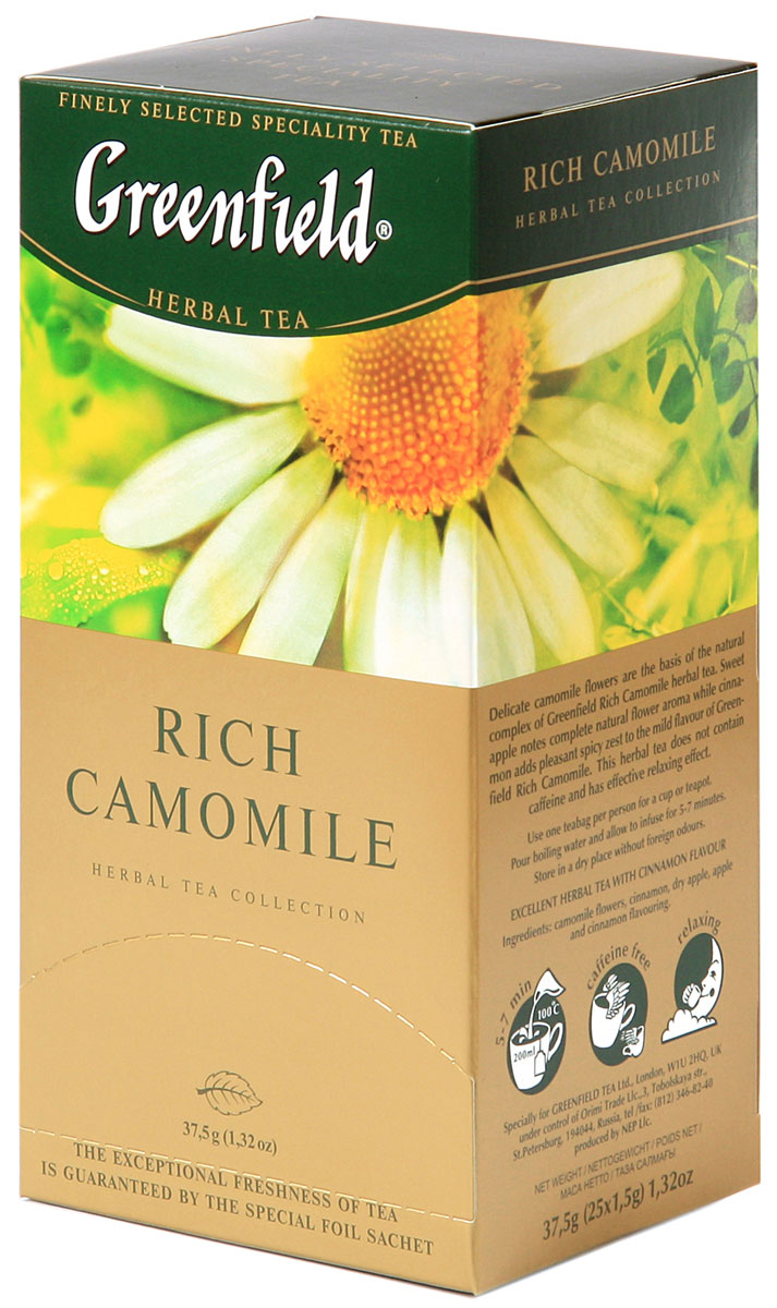 Greenfield Rich Camomile травяной чай в пакетиках, 25 шт0432-10Основу природного комплекса травяного чая Greenfield Rich Camomileсоставляют нежные цветы ромашки. Сладковатый оттенок сушеных яблок дополняет естественный цветочный вкус, а корица вносит приятную остроту в мягкую гамму Greenfield Rich Camomile . Не содержит кофеина, способствует релаксации.