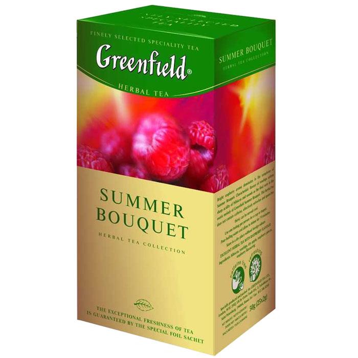 Greenfield Summer Bouquet травяной чай в пакетиках, 25 шт0433-10Яркий аромат спелой малины выступает доминантой композиции фруктового Greenfield Summer Bouguet. Характерный вкус шиповника смягчает острую кислинку гибискуса и вносит завершающую ноту в экзотическое звучание Greenfield Summer Bouguet. Не содержит кофеина, прекрасно освежает и утоляет жажду. Можно употреблять охлажденным.