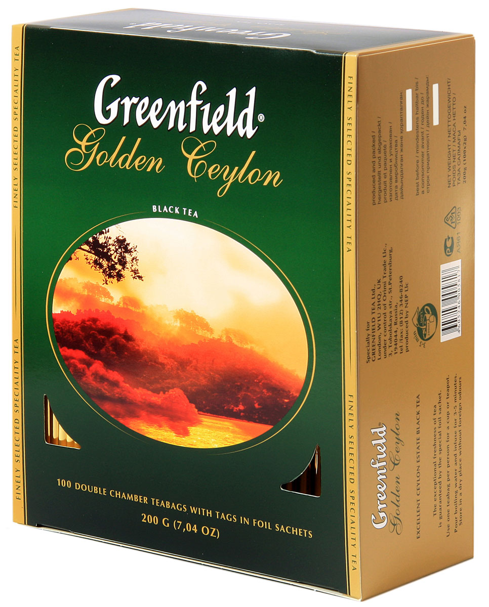 Greenfield Golden Ceylon черный чай в пакетиках, 100 шт0581-09Яркий аромат и благородный вкус цейлонского чая покорили мир. Неповторимое очарование ценного плантационного чая Greenfield Golden Ceylon в его гармоничном букете, сочетающем тонкие оттенки с силой и полнотой вкуса, свежесть которого доставит истинное удовольствие ценителям.Всё о чае: сорта, факты, советы по выбору и употреблению. Статья OZON Гид