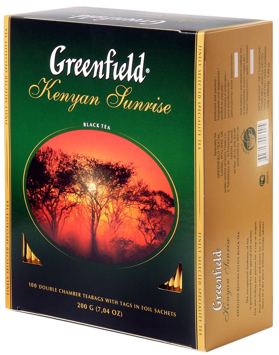 Greenfield Kenyan Sunrise черный чай в пакетиках, 100 шт greenfield barberry garden черный листовой чай 100 г