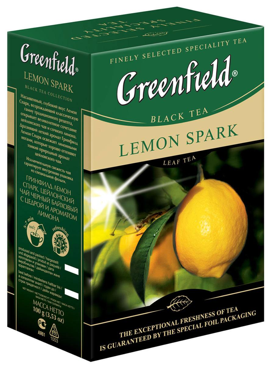 Greenfield Lemon Spark черный листовой чай, 100 г0714-15Насыщенный, глубокий вкус Greenfield Lemon Spark, возрождающий классическую гамму традиционного рецепта, отрывает великолепное сочетание цейлонского чая и сочного лимона. Дразнящий легкий аромат Greenfield Lemon Spark освежает лимонными нотами, которые хорошо оттеняют тонкий природный аромат цейлонского чая.Всё о чае: сорта, факты, советы по выбору и употреблению. Статья OZON Гид
