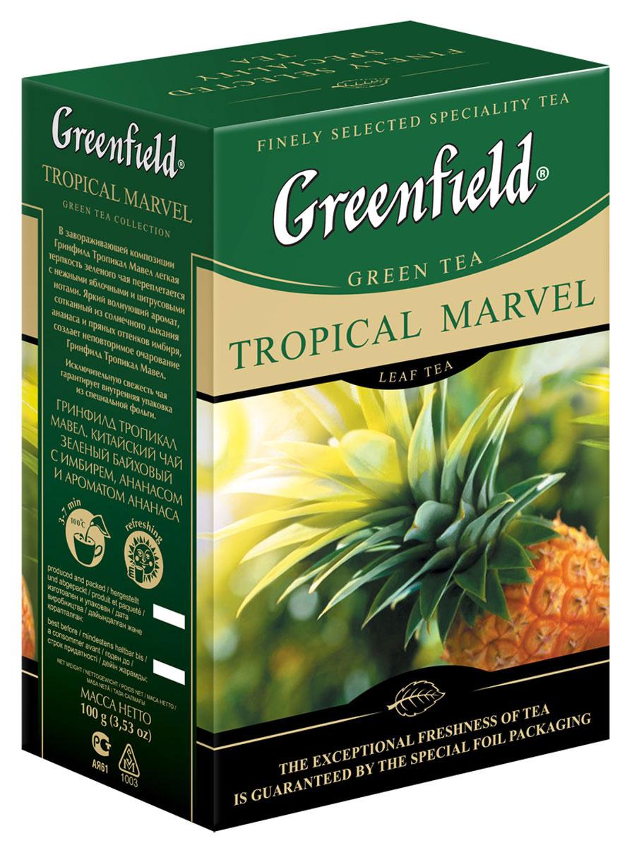 Greenfield Tropical Marvel зеленый листовой чай, 100 г0718-15В завораживающей композиции Greenfield Tropical Marvel легкая терпкость зеленого чая переплетается с нежными яблочными и цитрусовыми нотами. Яркий волнующий аромат, сотканный из солнечного дыхания ананаса и пряных оттенков имбиря, создает неповторимое очарование Greenfield Tropical Marvel.