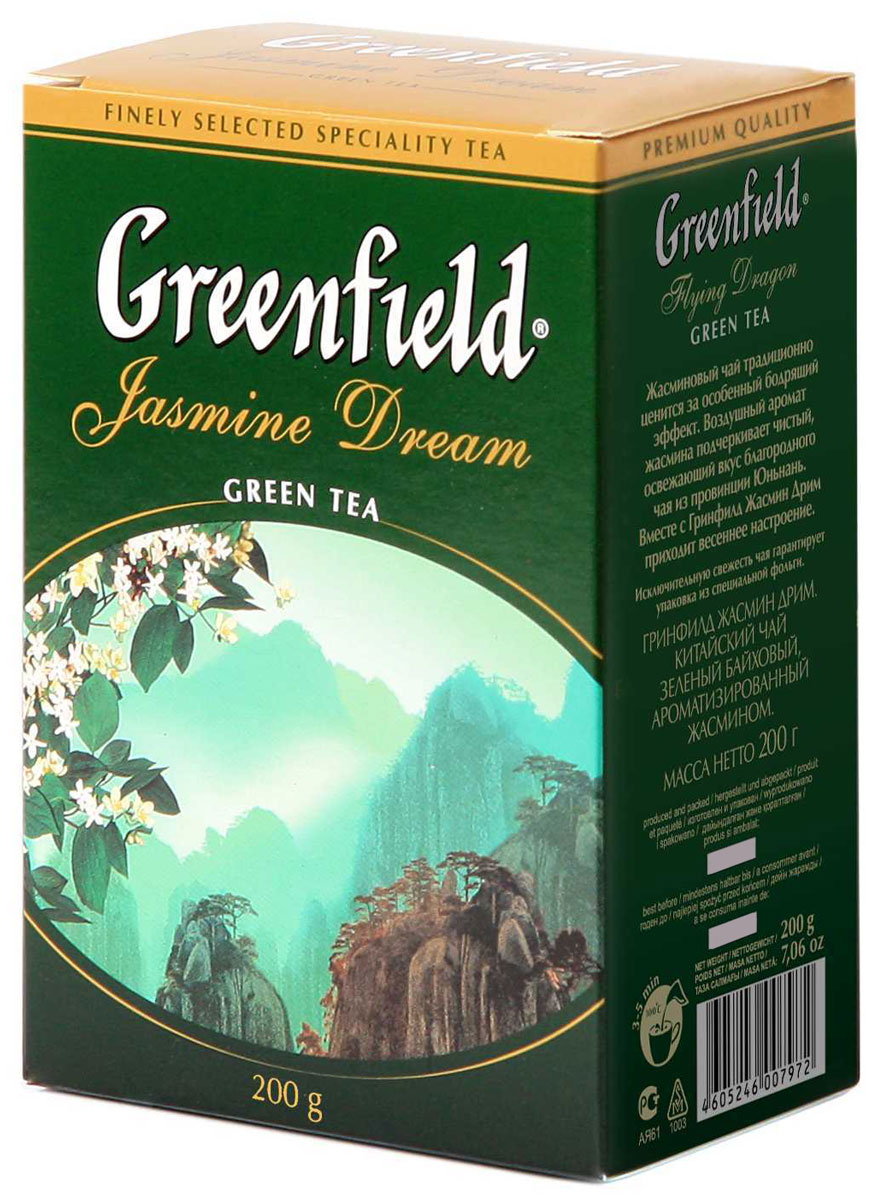 Greenfield Jasmine Dream зеленый ароматизированный листовой чай, 200 г0797-14Жасминовый чай ценится за особенный бодрящий эффект. Воздушный аромат жасмина подчеркивает чистый, освежающий вкус благородного зеленого чая из провинции Юньнань.Вместе с Greenfield Jasmine Dream приходит весеннее настроение!
