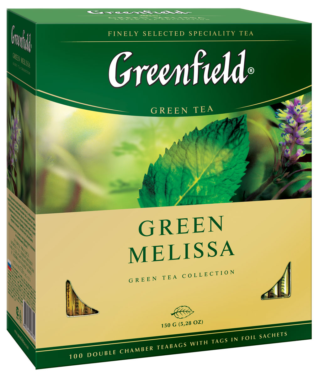 Greenfield Green Melissa зеленый чай в пакетиках, 100 шт lipton lemon melissa green tea зеленый чай в пирамидках с листочками лимонной мяты 20 шт