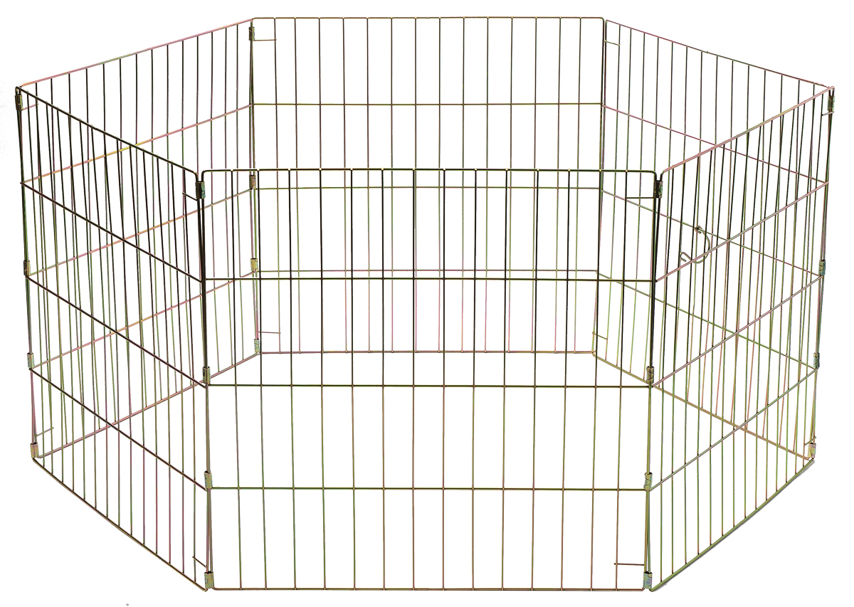 Вольер для животных V.I.Pet, складной, шестисекционный, 60 см х 60 см06011Металлический складной вольер V.I.Pet легко преобразуется из манежа в средство для разделения комнаты, защитную калитку или ограждения опасных мест, таких как лестница или камин. Вольер можно использовать как в домашних условиях, так и вне дома. Установив его во дворе, вы всегда будете знать, где находится ваш питомец. Подходит для щенков, кроликов и других животных, которые не смогут перепрыгнуть через борт. Легко собирается. В сложенном виде занимает мало места. Комплектация: 6 секций. Размер секции: 60 см х 60 см.