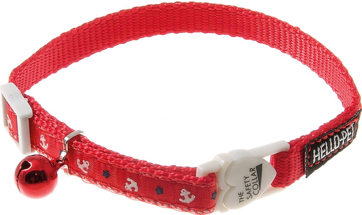 Ошейник для кошек Hello Pet Морской, с бубенцом, цвет: красный, 10 мм, 20-30 см pet parade кошки купить