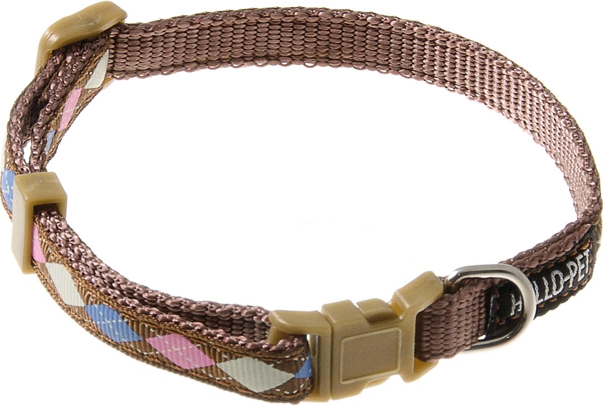 Ошейник для собак Hello Pet Ромбики, цвет: коричневый, 10 мм, 23-35 см ошейник для собак v i pet строгий 65 см