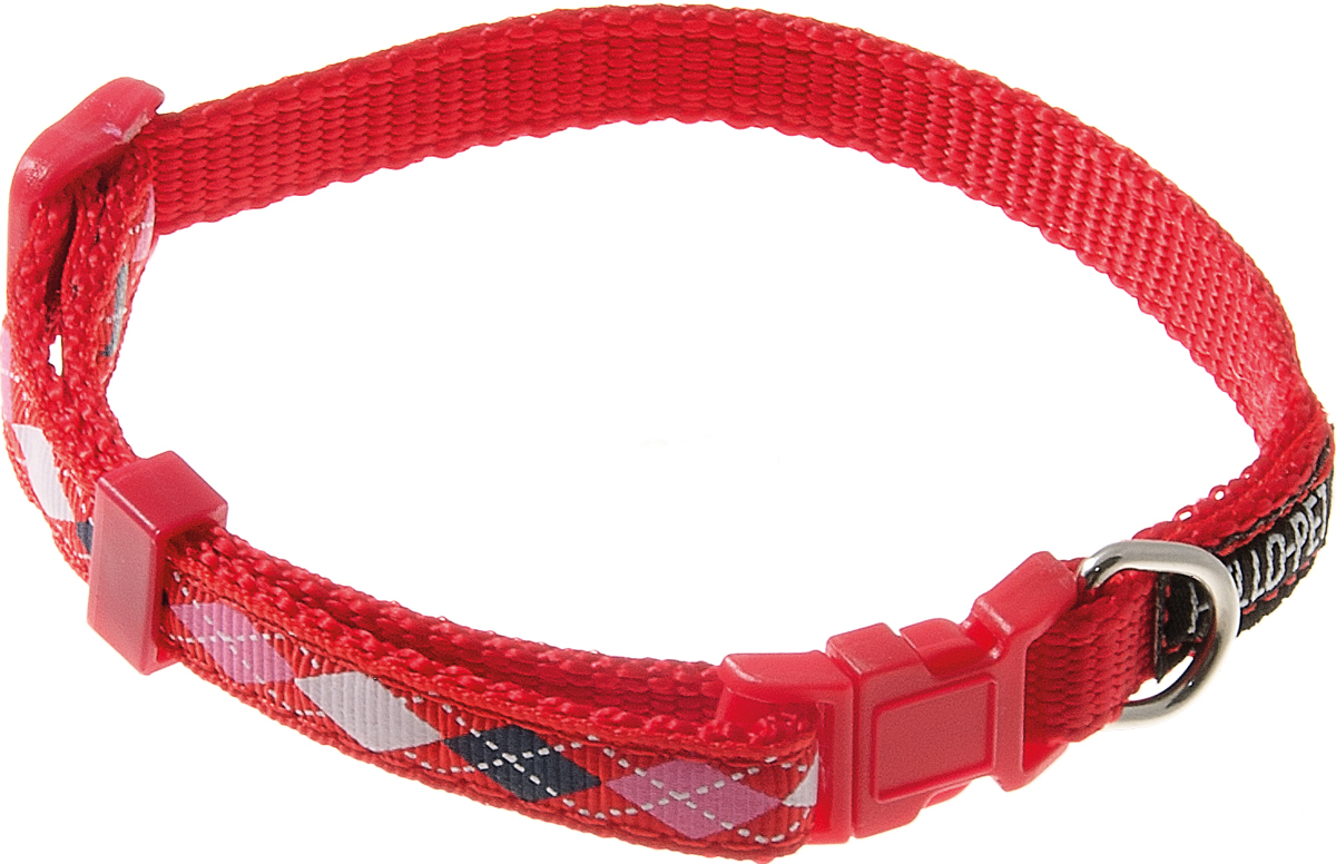 Ошейник для собак Hello Pet Ромбики, цвет: красный, 10 мм, 23-35 см70-2820Ошейник для собак Hello Pet Ромбики изготовлен из прочных материалов и легко регулируется. Оснащен пластиковой застежкой (фастекс), которая обеспечивает безопасность вашего питомца - в случае резкого рывка ошейник не раскроется.