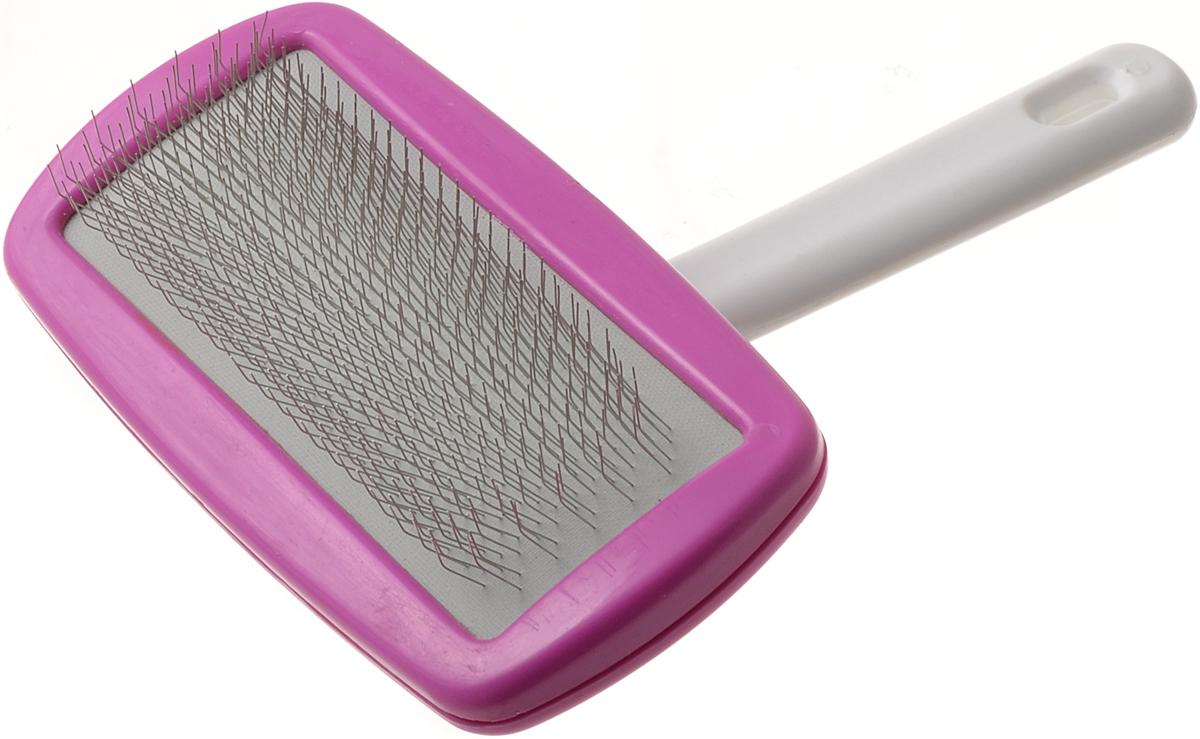 Пуходерка V.I.Pet с поворотной ручкой, большая, цвет: розовыйIC-5009Пуходерка V.I.Pet поможет вам удалить старую шерсть из шерсти и подшерстка и вашего домашнего любимца. Пуходерка выполнена из стали и пластика. Во время расчесывания стимулирует волосяные луковицы, придает шерсти здоровый вид. Для удобства использования пуходерка снабжена удобной поворотной ручкой.Линька под контролем! Статья OZON Гид