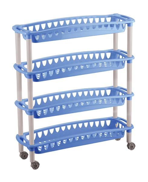 Этажерка узкая Джулия 4 полкиС12414Этажерка Бытпласт Джулия выполнена из высококачественного прочного пластика и предназначена для хранения различных предметов. Изделие имеет 4 полки прямоугольной формы с перфорированными стенками. Благодаря колесикам этажерку можно перемещать в любую сторону без особых усилий. В ванной комнате вы можете использовать этажерку для хранения шампуней, гелей, жидкого мыла, стиральных порошков, полотенец и т.д. Ручной инструмент и детали в вашем гараже всегда будут под рукой. Удобно ставить банки с краской, бутылки с растворителем. В гостиной этажерка позволит удобно хранить под рукой книги, журналы, газеты. С помощью этажерки также легко навести порядок в детской, она позволит удобно и компактно хранить игрушки, письменные принадлежности и учебники. Этажерка - это идеальное решение для любого помещения. Она поможет поддерживать чистоту, компактно организовать пространство и хранить вещи в порядке, а стильный дизайн сделает этажерку ярким украшением интерьера.Размер этажерки (ДхШхВ): 59 х 18 х 73 см. Размер полки (ДхШхВ): 59 х 18 х 6,5 см.