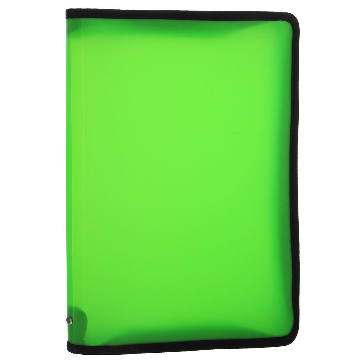 Папка Erich Krause, на молнии, цвет: зеленый. Формат А431012Папка Erich Krause - это удобный и функциональный офисный инструмент, предназначенный для хранения и транспортировки рабочих бумаг и документов формата А4, а также тетрадей и канцелярских принадлежностей. В папке одно вместительное отделение.Папка изготовлена из прочного высококачественного пластика, закрывается на круговую застежку-молнию. Папка состоит из одного отделения и имеет яркий неоновый зеленый цвет. Края папки отделаны полиэстером, а уголки имеют закругленную форму, что предотвращает их загибание и помогает надолго сохранить опрятный вид обложки.Папка - это незаменимый атрибут для любого студента, школьника или офисного работника. Такая папка надежно сохранит ваши бумаги и сбережет их от повреждений, пыли и влаги.