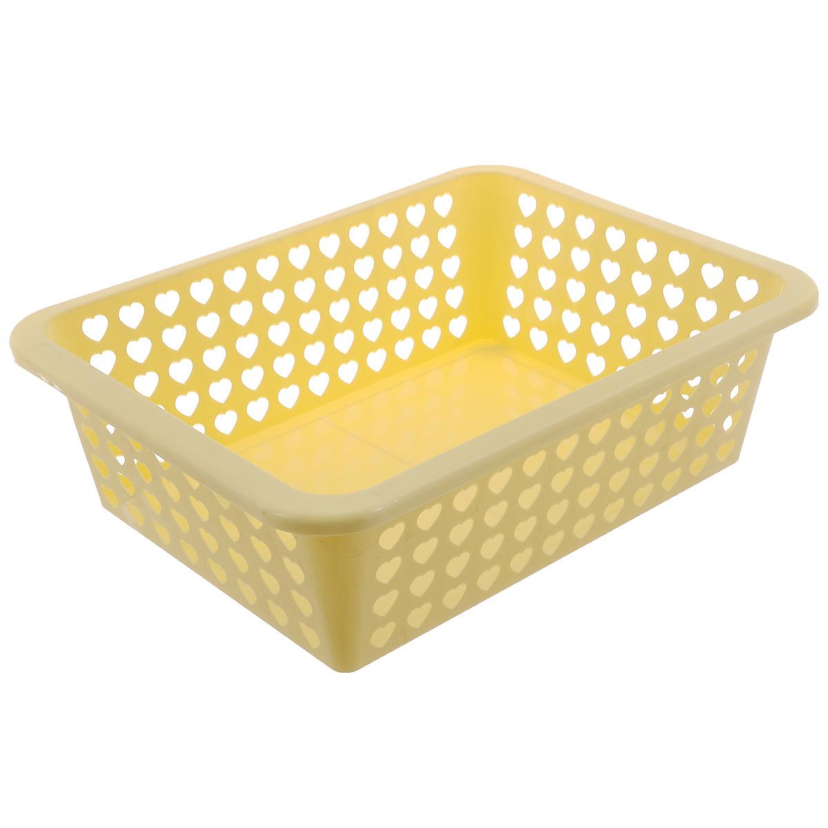 Корзина Альтернатива Вдохновение, цвет: желтый, 39,5 см х 29,7 см х 12 смМ611Корзина Альтернатива Вдохновение выполнена из пластика и оформлена перфорацией в виде сердечек. Изделие имеет сплошное дно и жесткую кромку. Корзина предназначена для хранения мелочей в ванной, на кухне, на даче или в гараже. Позволяет хранить мелкие вещи, исключая возможность их потери.