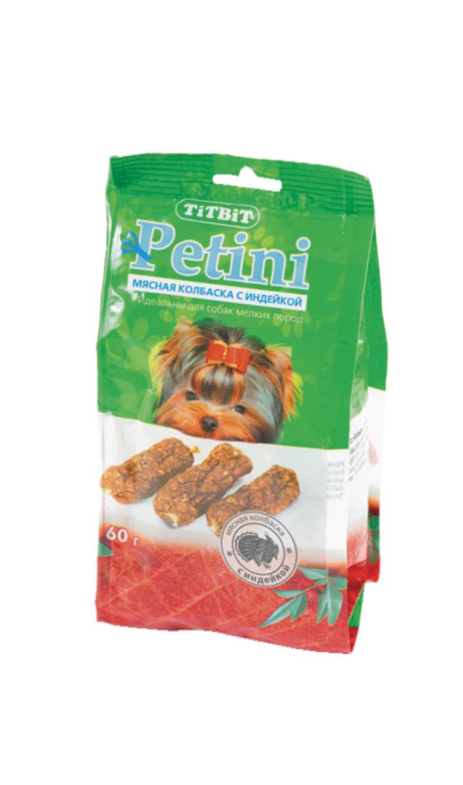 Лакомство для собак Titbit Petini, колбаски, с индейкой, 60 г