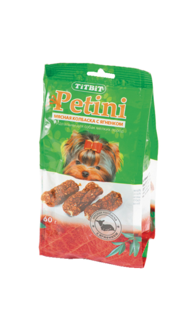 Лакомство для собак Titbit Petini, колбаски, с ягненком, 60 г2636Titbit Petini - это вкусное и полезное лакомство для собак. Мясо ягненка – это источник гипоаллергенного, высококачественного протеина животного происхождения, который легко усваивается и необходим при заживлении ран и переломах костей. Аромат баранины очень нравится собакам, поэтому лакомство удобно применять для дрессуры. Вещества, такие как цинк, витамин В12 и железо (2,6 мг/100г), благотворно влияют на умственную деятельность животного. В мясе ягненка содержатся так же витамин РР (5,4 мг/100г), который участвует в усвоении белков, жиров и углеводов, поступающих извне.Состав: мясо ягненка и мясные субпродукты (не менее 92%), кукуруза,минеральные веществаТовар сертифицирован.Тайная жизнь домашних животных: чем занять собаку, пока вы на работе. Статья OZON ГидЧем кормить пожилых собак: советы ветеринара. Статья OZON Гид