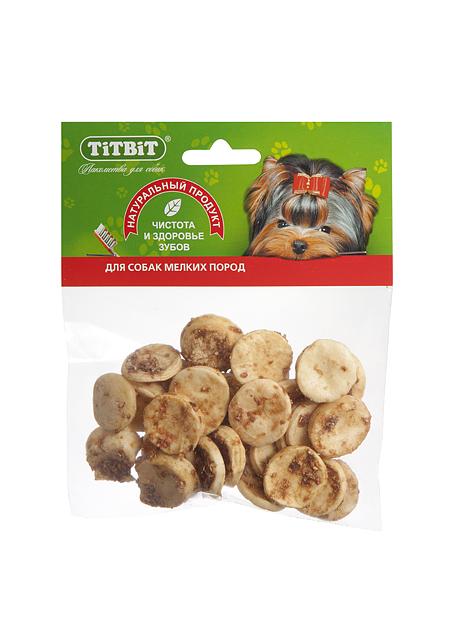 Лакомство для собак Titbit, медальоны из говяжьей кожи319892Высушенная в форме медальонов говяжья кожа в обсыпке из молотых говяжьих кишок.Благодаря большому содержанию аминокислот и коллагена положительно воздействует на хрящевую ткань, состояние кожи и шерсти собаки. Благодаря волокнистой структуре являются своеобразной зубной щёткой, способствующей укреплению дёсен, удалениюзубного налёта и профилактике образования зубного камня. Состав: Высушенная говяжья кожа. Тайная жизнь домашних животных: чем занять собаку, пока вы на работе. Статья OZON Гид