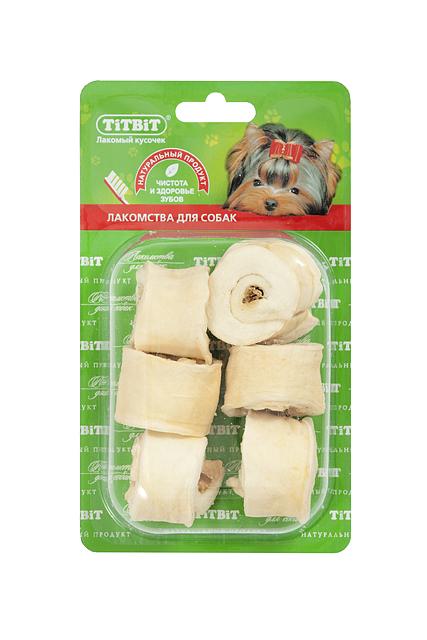 Лакомство для собак Titbit, роллы из кожи с начинкой, 6 шт лакомство titbit чипсы говяжьи для собак