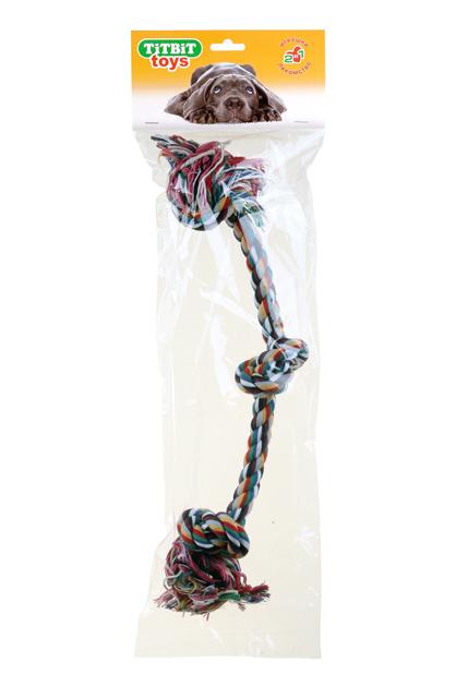 Игрушка для собак Titbit, канат с тремя узлами, длина 45 см игрушка для собак titbit канат с рулетом из кожи длина 35 см