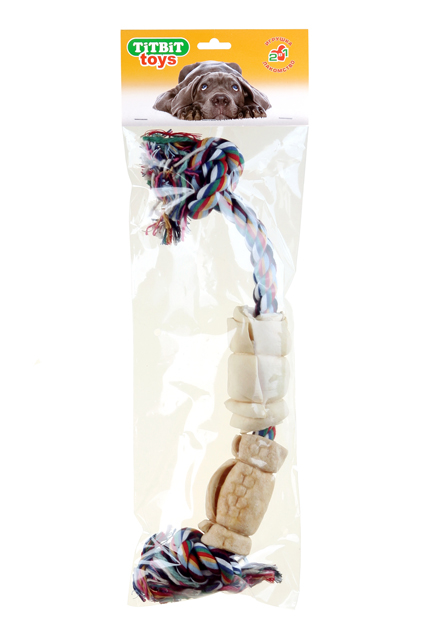 Игрушка-лакомство для собак Titbit, канат с 2 рулетами из кожи, длина 35 см