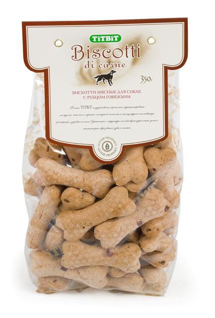 Печенье для собак Titbit Biscotti, с говяжьим рубцом, 350 г3708Говяжий рубец - ценнейший источник легкоусвояемого белка и полезных ферментов, необходимых для полноценного питания животного. Рубец говяжий способствует улучшению пищеварения и устранению дисбактериоза.Состав: Мука в/с грубого помола 41%, мука из цельной пшеницы 19%, пшеничный зародыш 13%, диетический говяжий рубец 10%, постное мясо говядины6%, растительное масло 5%, патока 5%, молотый имбирь 1%.Тайная жизнь домашних животных: чем занять собаку, пока вы на работе. Статья OZON Гид