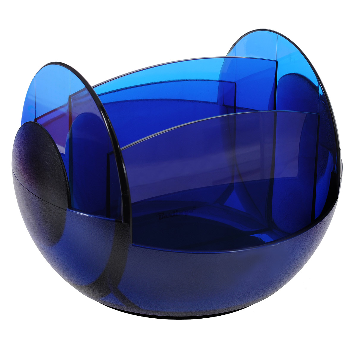 Настольная подставка вращающаяся Berlingo, цвет синийMOn00062Настольная подставка вращающаяся Berlingo незаменимый атрибут рабочего стола.Она выполнена из высококачественного пластика и содержит два отделения для пишущих принадлежностей и еще четыре отделения для различных других канцелярских приборов: линеек, ластиков, блоков для заметок. Подставка оснащена вращающимся механизмом на 360 градусов, благодаря которому вы сможете с легкостью взять нужный предмет.Такая настольная подставка призвана не только сохранить письменные принадлежности в порядке, но и разнообразить привычную обстановку рабочего стола.