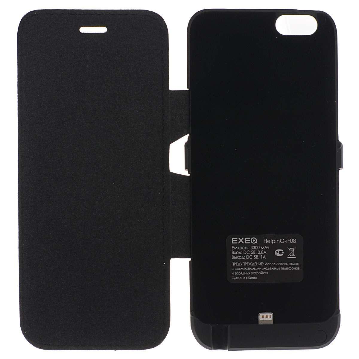 EXEQ HelpinG-iF08 чехол-аккумулятор для iPhone 6, Black (3300 мАч, флип-кейс)HelpinG-iF08 BL