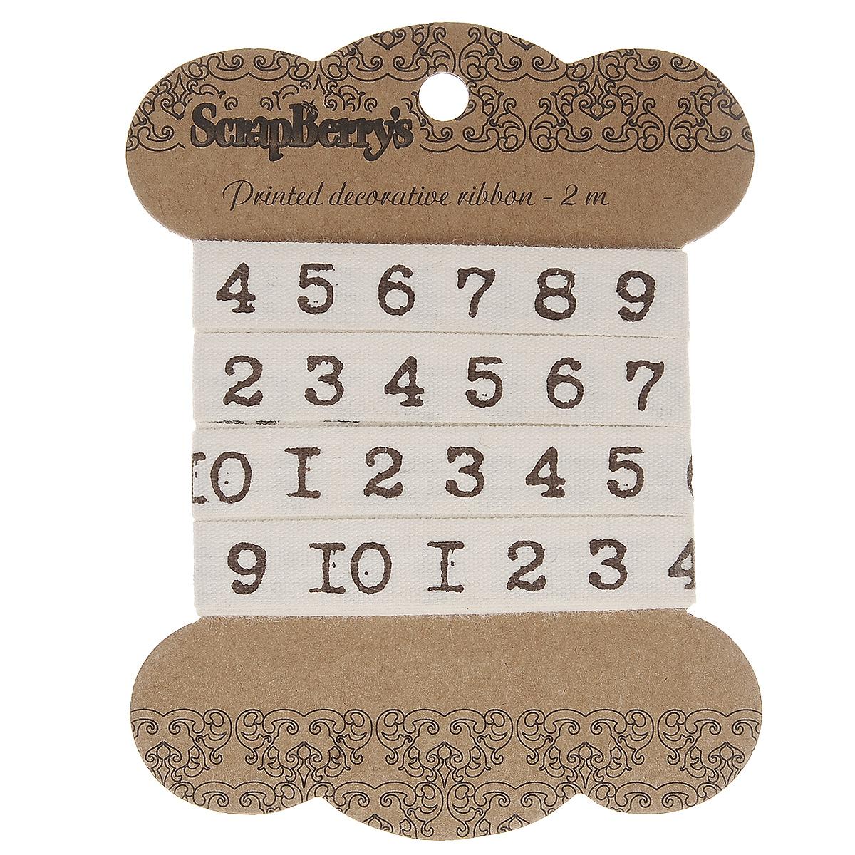 Лента декоративная ScrapBerrys Цифры печатная машинка, 1 х 200 смSCB390311Декоративная лента ScrapBerrys Цифры печатная машинка изготовлена из хлопка и оформлена изображением цифр. Такая лента идеально подойдет для оформления различных творческих работ таких, как скрапбукинг, аппликация, декор коробок и открыток и многое другое. Лента наивысшего качества практична в использовании. Она станет незаменимым элементом в создании рукотворного шедевра. Ширина: 1 см.Длина: 2 м.