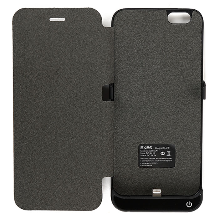 EXEQ HelpinG-iF11 чехол-аккумулятор для iPhone 6, Black (3300 мАч, флип-кейс)HelpinG-iF11 BL