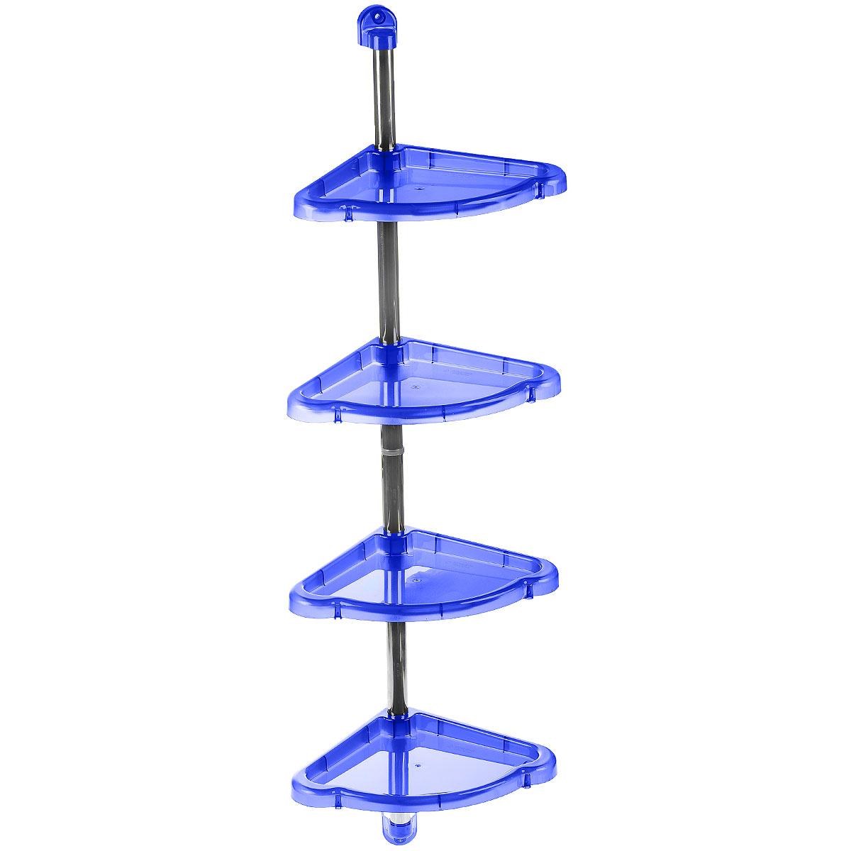 """Угловая этажерка Berossi """"Elancia"""" выполнена из пластика и металла и предназначена для  хранения различных предметов в ванной. Этажерка легко собирается и разбирается. Можно  собрать как двухъярусную, так и четырехъярусную этажерку. У каждой полки по переферии есть  небольшие отверстия, предназначенные для стекания воды.   Этажерка придется особенно кстати, если у вас небольшая ванная: она займет минимум  пространства.  Размер 4-х ярусной этажерки (ДхШхВ): 24 см х 24 см х 98,3 см.  Размер 2-х ярусной этажерки (ДхШхВ): 24 см х 24 см х 53,6 см."""