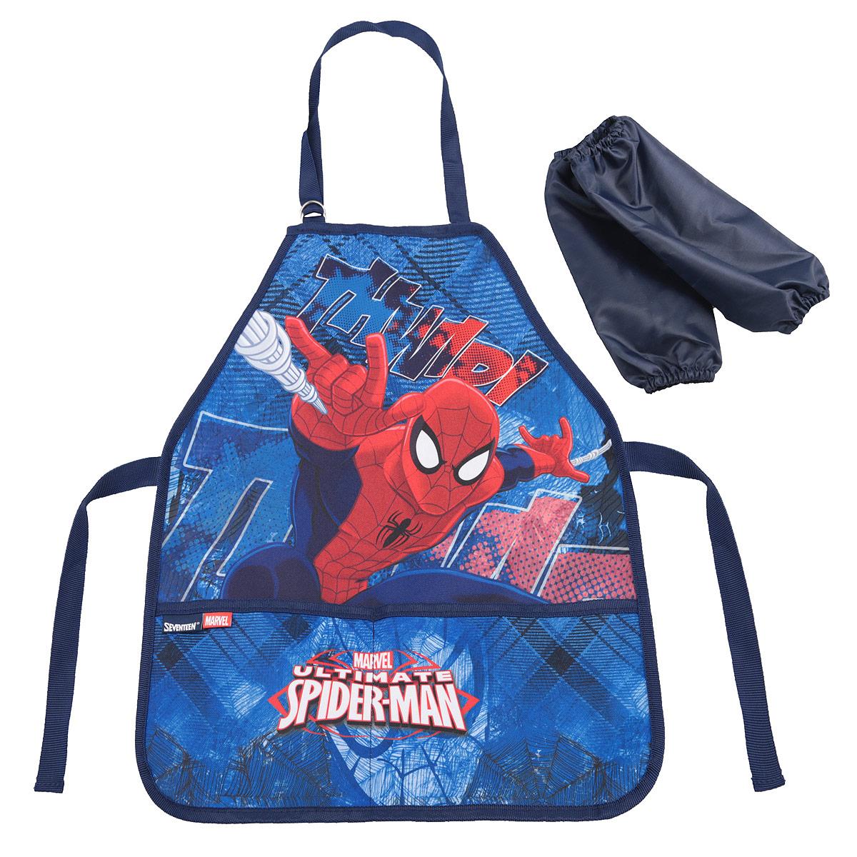 Фартук для труда Spider-man Classic, с нарукавниками, цвет: синий, красныйSMCB-RT2-2900Фартук для труда Spider-man Classic, с нарукавниками поможет малышу не испачкаться во время домашних хлопот, на уроках труда или изобразительного искусства. Благодаря удобному покрою фартука, ребенок может его самостоятельно надевать и снимать. Завязки позволяют зафиксировать фартук на талии и на шее. Ремень, предназначенный для фиксации на шее, имеет металлические приспособления для регулировки длины.Спереди расположены два вместительных кармана, в которые можно положить необходимые для работы предметы. К фартуку прилагаются два нарукавника из плащевой ткани, они фиксируются резинками сверху и снизу.Изделие изготовлено из легкостирающейся, износостойкой ткани, поэтому будет служить очень долго.
