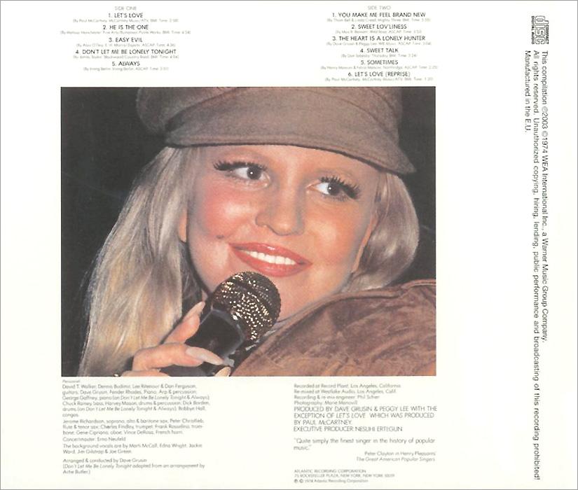 Peggy Lee.  Let's Love Warner Music,Wea International Inc.