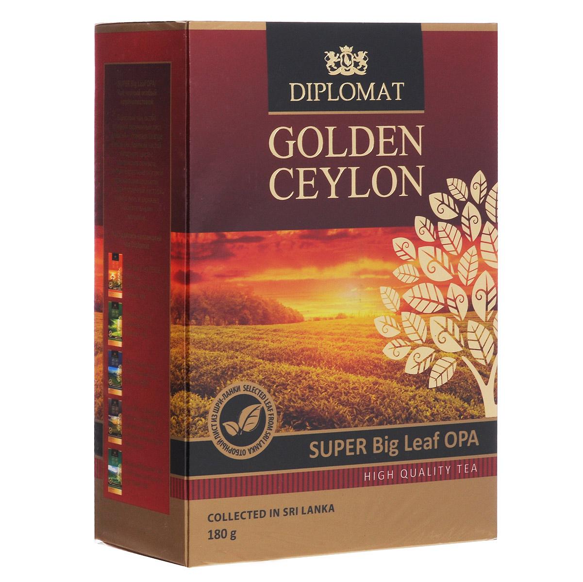Diplomat Super Big Leaf OPA черный крупнолистовой чай, 180 г4623721121869Байховый чай Diplomat Super Big Leaf OPAотличается особо крупным скрученным листом - стандартом Orange Pekoe «А». Крепкий настой янтарного цвета с золотистым отливом, мягким бархатным вкусом и освежающим ароматом создает отличный настрой на весь день и заряжает положительными эмоциями.
