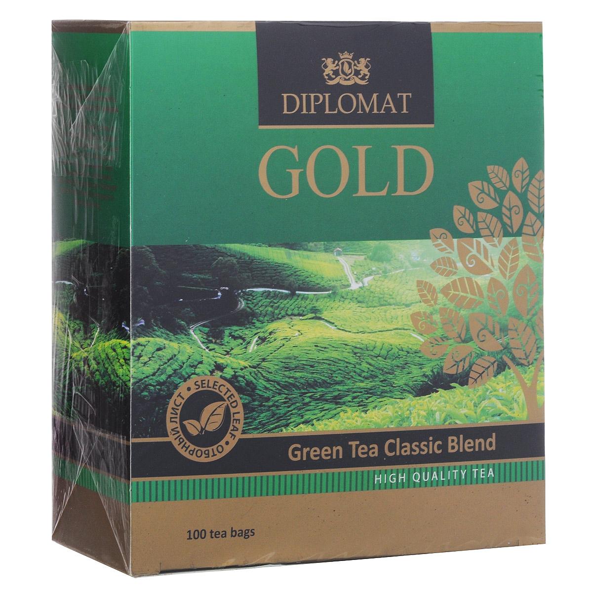 Diplomat Green Tea Classic Blend зеленый чай в пакетиках, 100 шт.4623721273858Зеленый чай Diplomat Green Tea Classic Blend в пакетиках для разовой заварки. Чистый и легкий чай для тех, кто ценит уникальный вкус и аромат традиционного зеленого чая. Цвет настоя желто-зеленый, аромат цветочный, с кислинкой, вкус насыщенный, но не терпкий, послевкусие умеренное. Навевает мечты об отдыхе и погружает в чарующую негу.