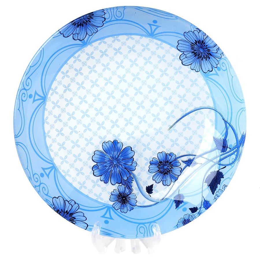 Салатник House & Holder, цвет: голубой, диаметр 22,5 смS302009NF105Салатник House & Holder, изготовленный из стекла, декорирован изображением цветов. Такой салатник украсит сервировку вашего стола и подчеркнет прекрасный вкус хозяина, а также станет отличным подарком. Диаметр: 22,5 см. Высота: 3,5 см.