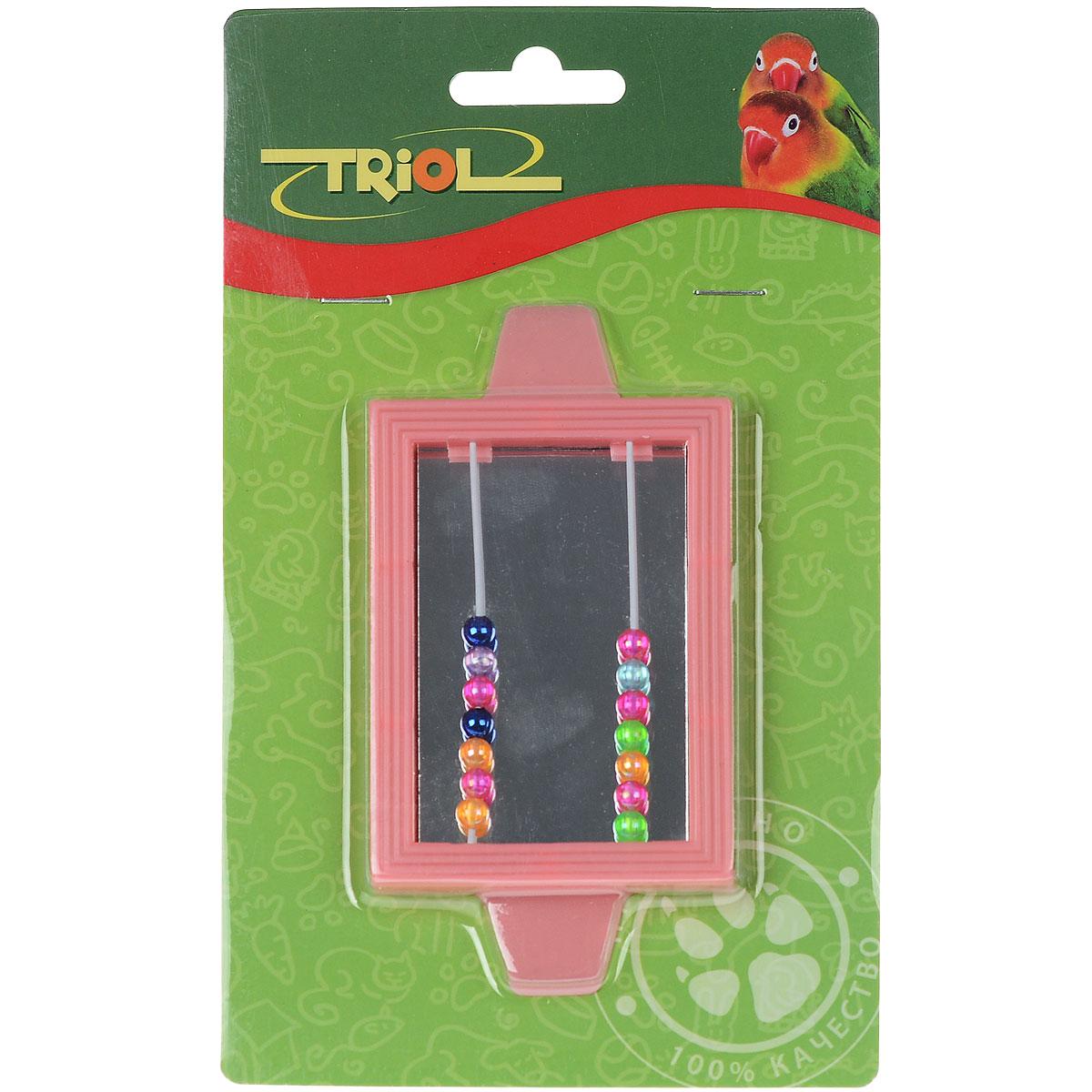 Игрушка для птиц Triol Зеркало с бусинками, цвет: розовый игрушка для птиц ferplast зеркало колокольчик