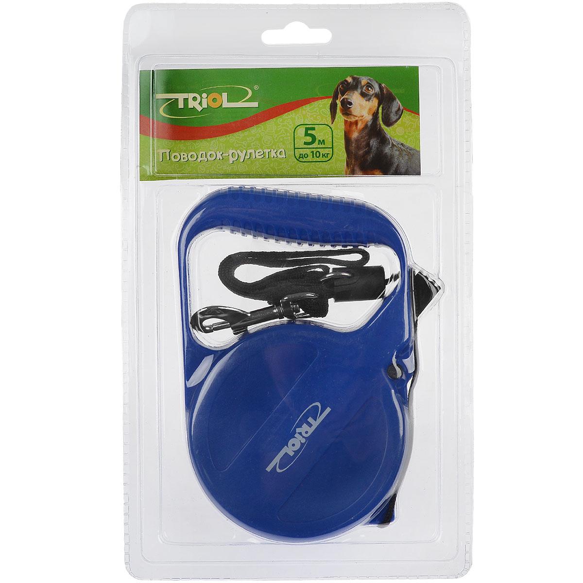 Поводок-рулетка Triol, для собак до 10 кг, цвет: синий, 5 м. Р-03000 поводок рулетка triol disney minnie для собак до 12 кг цвет красный 3 м