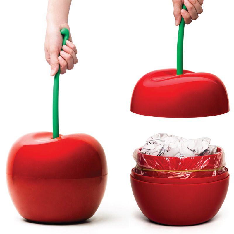 Корзина для мусора Qualy Cherry, цвет: красный, зеленый, 4 л хелен харпер прокладки anatomic deo normal 10шт