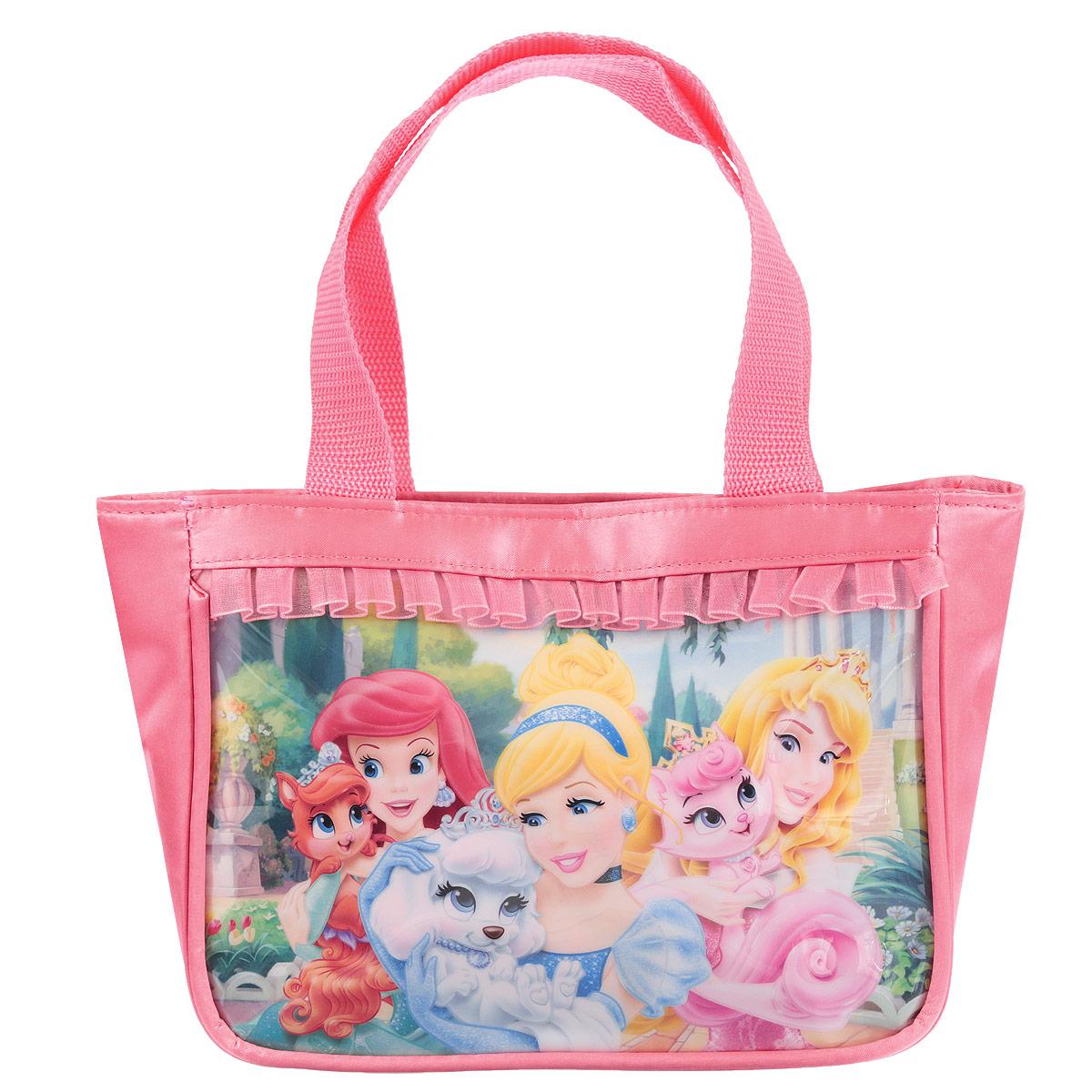 Сумочка детская Princess, цвет: розовыйPRCB-UT4-4011Детская сумочка Princess - это модный аксессуар для юной поклонницы популярного мультсериала . Сумочка выполнена из прочного материала ярко-розового цвета и оформлена с лицевой стороны аппликацией из ПВХ с изображением трех принцесс и обрамлена текстильной рюшкой. Сумочка содержит одно отделение и закрывается с помощью застежки-молнии. Сумочка оснащена не регулируемыми ручками для переноски в руке.Порадуйте свою малышку таким замечательным подарком!Предназначено для детей 7-10 лет.