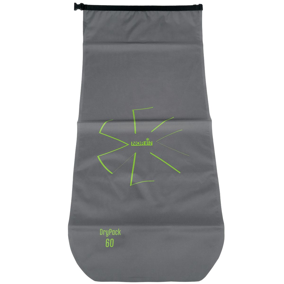 Гермомешок Norfin Dry Pack, цвет: серый, 60 лNF-40305Благодаря исключительным свойствам материала и своей конструкции Norfin Dry Pack позволяет надежно защитить ваши вещи и документы от попадания влаги. Удобный скручивающийся верх обеспечивает герметичность. Гермомешок имеет воздушный клапан для выпуска из мешка воздуха и уменьшения объема. Мешок плоский в сжатом виде.
