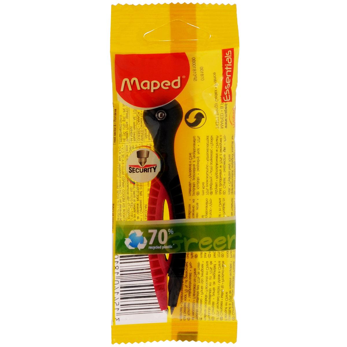 Циркуль пластиковый Maped Essentials с грифелем, цвет: черный, розовый канцелярия maped циркуль essentials