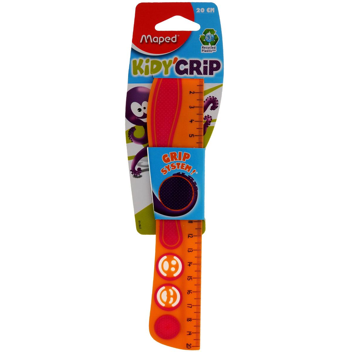 Линейка Maped Кidi Grip, нескользящая, 20 см, цвет: оранжевый, розовый278710_оранжевыйЛинейка Maped Кidi Grip удобна в использовании благодаря резиновой вставке, которая препятствует ее скольжению по бумаге. Необычная линейка длиной 20 см дополнена забавными трафаретами в виде смайликов.