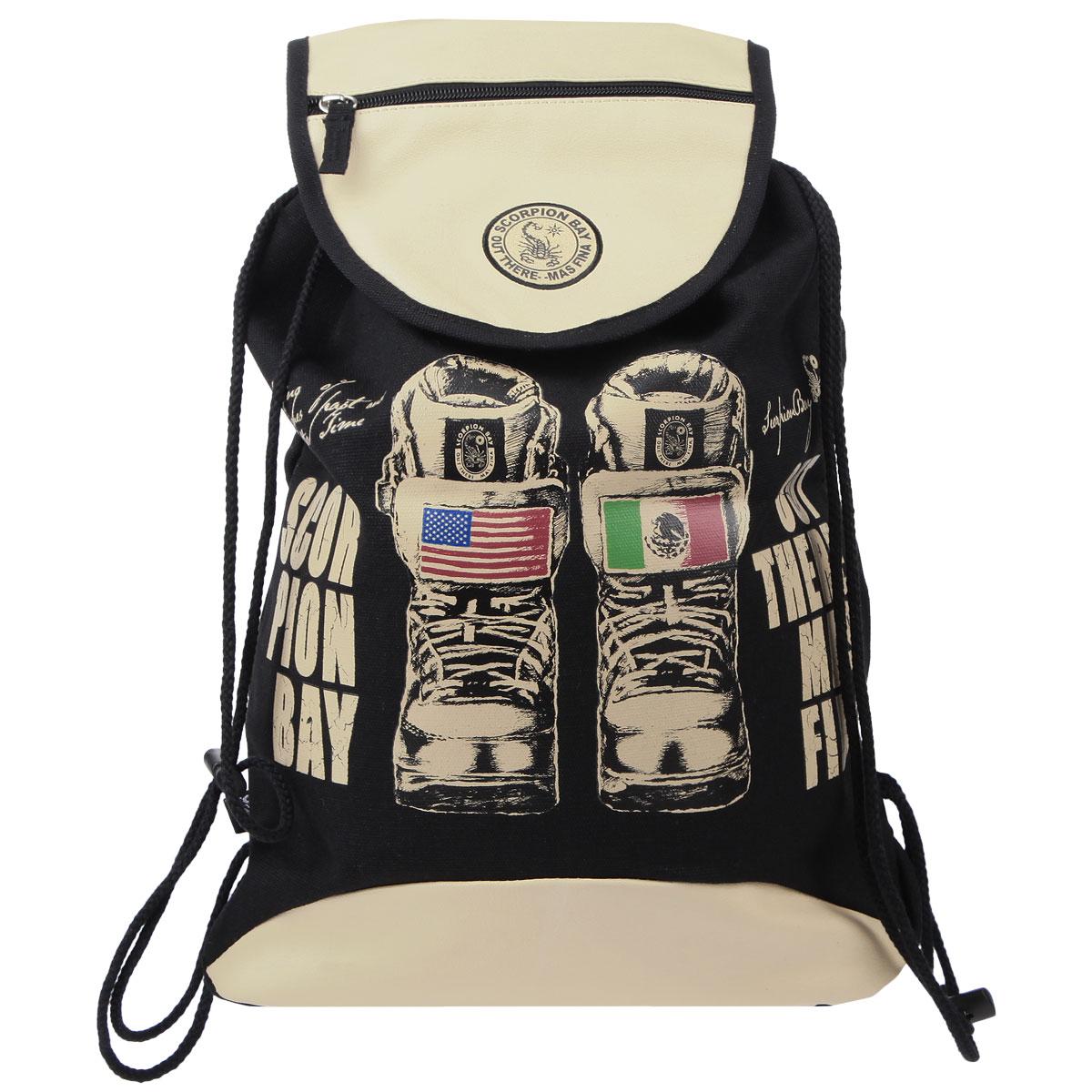 Сумка-рюкзак для обуви Scorpion Bay, цвет: бежевый, черныйSBAB-RT1-895Сумка для сменной обуви Scorpion Bay идеально подойдет как для хранения, так и для переноски сменной обуви и одежды.Сумка, оформленная ярким принтом,выполнена из прочного износостойкого материала и содержит одно вместительное отделение, закрывающееся клапаном на липучке и затягивающееся с помощью текстильных шнурков. Шнурки фиксируются в нижней части сумки, благодаря чему ее можно носить за спиной как рюкзак. На клапанеимеется дополнительный карман на молнии. Ваш ребенок с радостью будет ходитьв школу с таким аксессуаром.