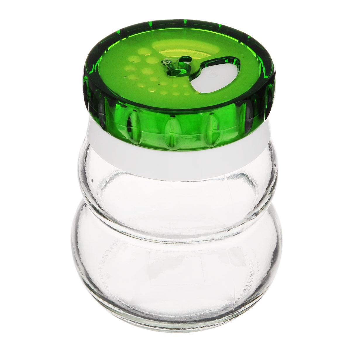 """Банка для специй """"Herevin"""" выполнена из прозрачного стекла и оснащена пластиковой цветной крышкой с отверстиями разного размера, благодаря которым, вы сможете приправить блюда, просто перевернув банку.  Крышка снабжена поворотным механизмом, благодаря которому вы сможете регулировать степень подачи специй. Крышка легко откручивается, благодаря чему засыпать приправу внутрь очень просто.  Такая баночка станет достойным дополнением к вашему кухонному инвентарю.   Можно мыть в посудомоечной машине. Диаметр (по верхнему краю): 4 см. Высота банки (без учета крышки): 7,5 см."""