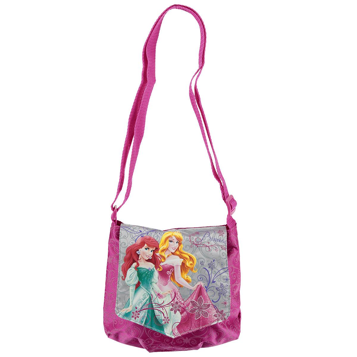 Сумочка детская Princess, цвет: розовый. PRAA-UT1-57012PRAA-UT1-57012Стильная детская сумочка Princess порадует любую модницу и поклонницу мультфильма.Сумочка имеет одно отделение, закрывающееся на перекидной клапан на липучке с изображением принцесс. Лицевая сторона сумочки оформлена притнтолм-узором. Сумочка оснащена регулируемым по длине ремнем для переноски, благодаря чему подойдет детям любого роста. Каждая юная поклонница популярной серии игрушек, будет рада такому аксессуару.Предназначено для детей 7-10 лет.