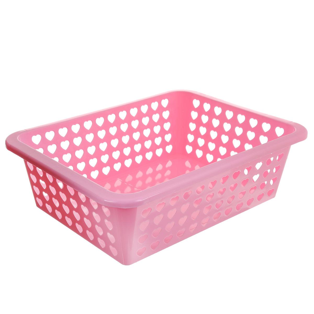 Корзина Альтернатива Вдохновение, цвет: розовый, 39,5 см х 29,7 см х 12 смМ611Корзина Альтернатива Вдохновение выполнена из пластика и оформлена перфорацией в виде сердечек. Изделие имеет сплошное дно и жесткую кромку. Корзина предназначена для хранения мелочей в ванной, на кухне, на даче или в гараже. Позволяет хранить мелкие вещи, исключая возможность их потери.