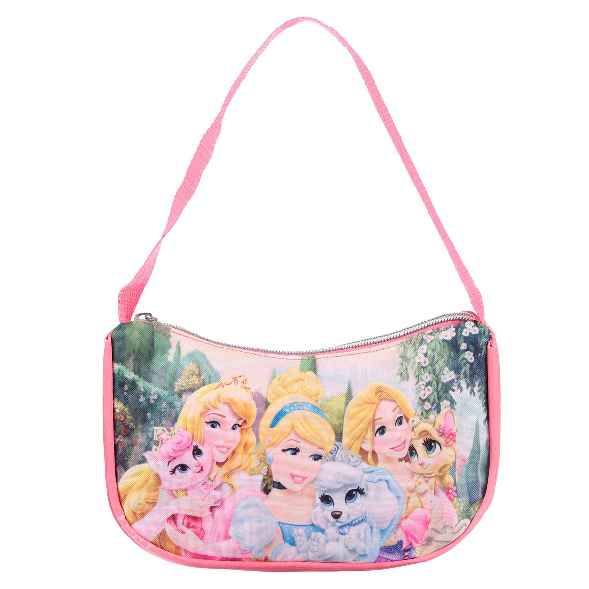 Сумочка детская Princess, цвет: розовый. PRCB-UT4-4018PRCB-UT4-4018Детская сумочка Princess - это модный аксессуар для юной поклонницы популярного мультсериала . Сумочка выполнена из прочного материала ярко-розового цвета и оформлена с лицевой стороны аппликацией из полиэстера с изображением трех принцесс. Сумочка содержит компактное одно отделение и закрывается с помощью застежки-молнии. Сумочка оснащена ручкой для переноски в руке. Высота ручки 17 см.Порадуйте свою малышку таким замечательным подарком! Предназначено для детей 7-10 лет.